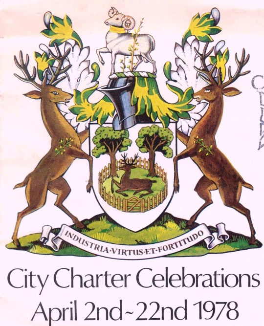Arms of the City of Derby in England, issued to celebrate its royal charter as a city issued the year before.