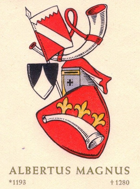 "Arms of the medieval German scholar Albertus Magnus (1193-1280), from a first-day cover for the 1961 stamp issued in his honor by the West Berlin post office in their ""Famous Germans"" series."