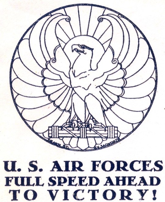 An especially elegant Art Deco wartime design by R. V. Sadworth, on an American wartime patriotic cover from 1944. It is not usual for cachets to be signed, as this one is (just below the eagle's tail).