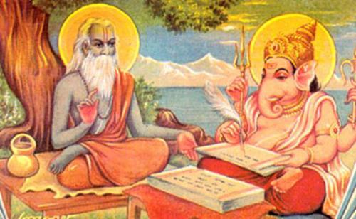 twelve icons of sri lord ganesha radbash vyasa dictating the mahabharata to lord ganesha who acts as his scribe