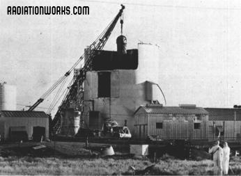 The SL-1 reactor being removed from the reactor building after the 1961 accident.
