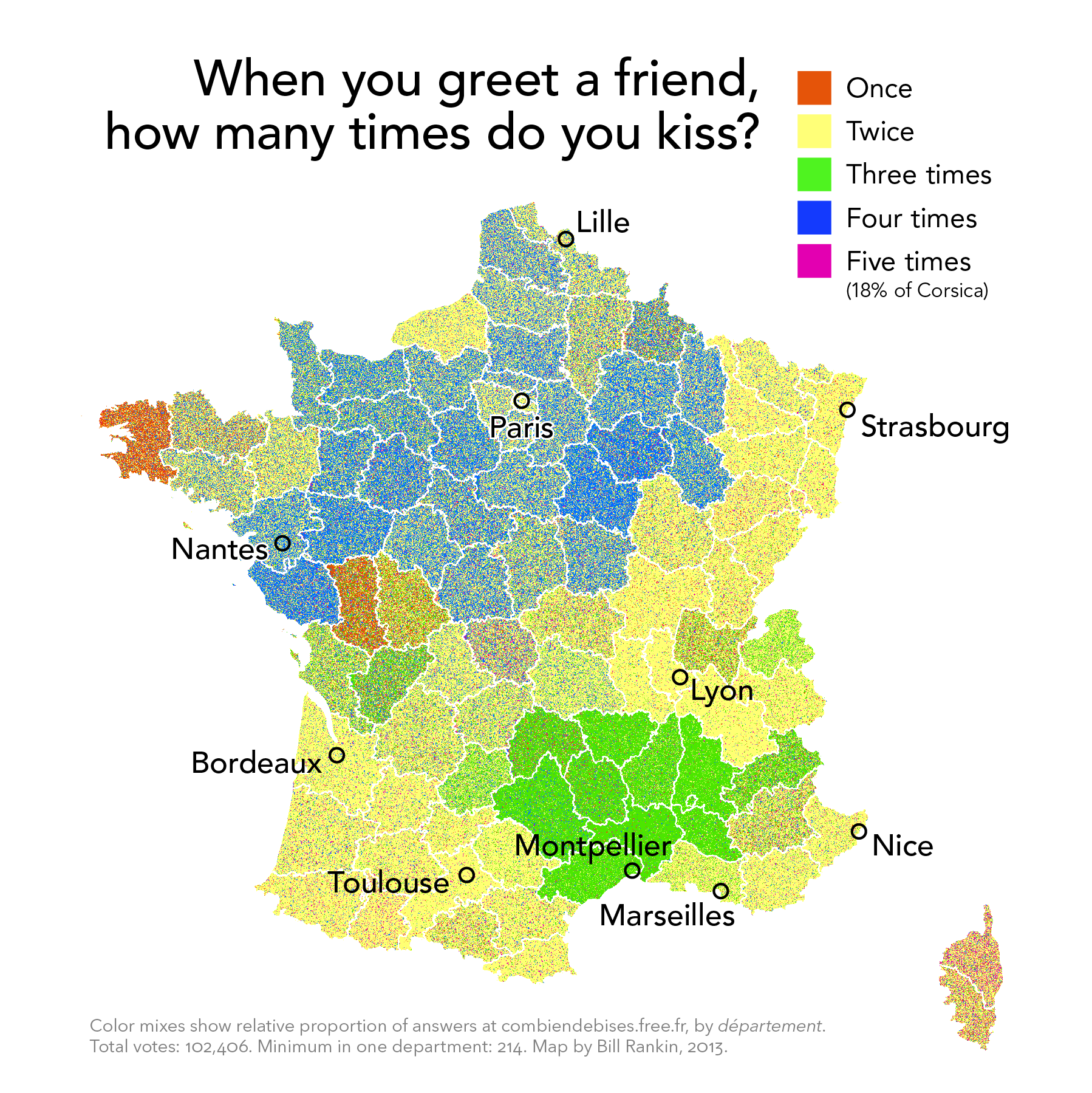 French Kisses: When You Greet a Friend, How Many Times Do You Kiss? (Bill Rankin, radicalcartography.net)