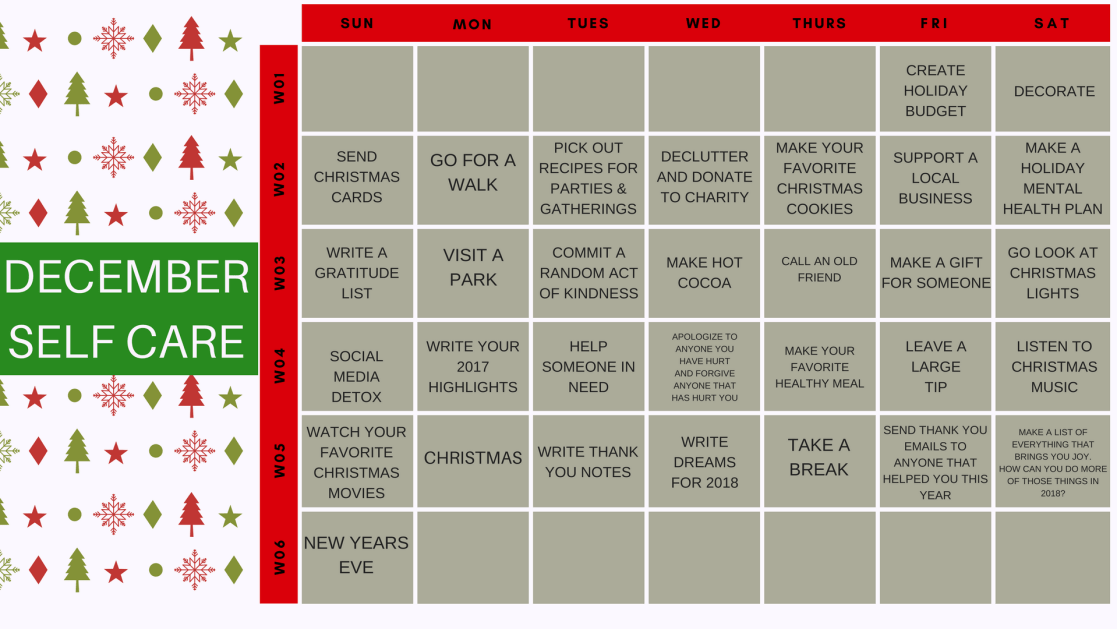 Calendar Year Health Insurance : Holiday self care calendar radical transformation project