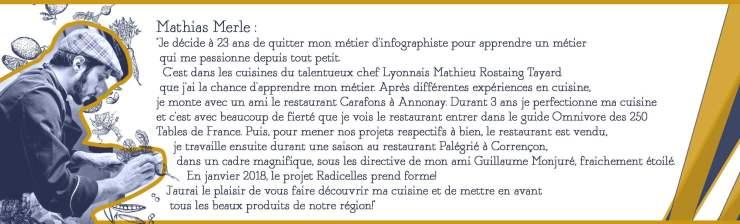 Mathias Merle, Restaurant Radicelles à Annonay en Ardèche