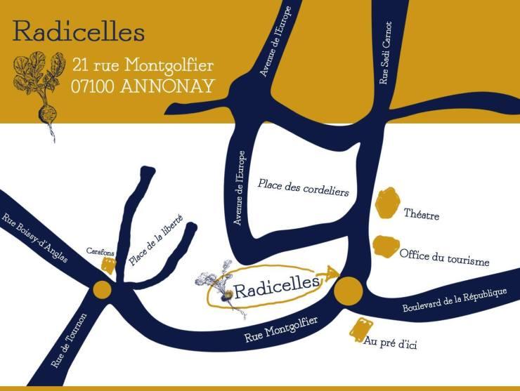 Plan d'accès, Restaurant Radicelles à Annonay en Ardèche