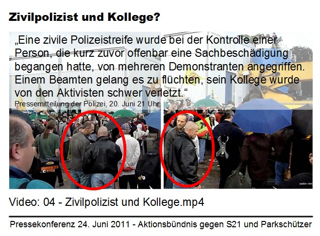 Eingesetzter Zivilpolizist I und II - Darstellung der Polizei