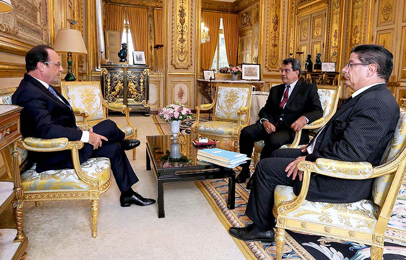 Edouard Fritch reçu dans le bureau élyséen en octobre dernier © Présidence de la République
