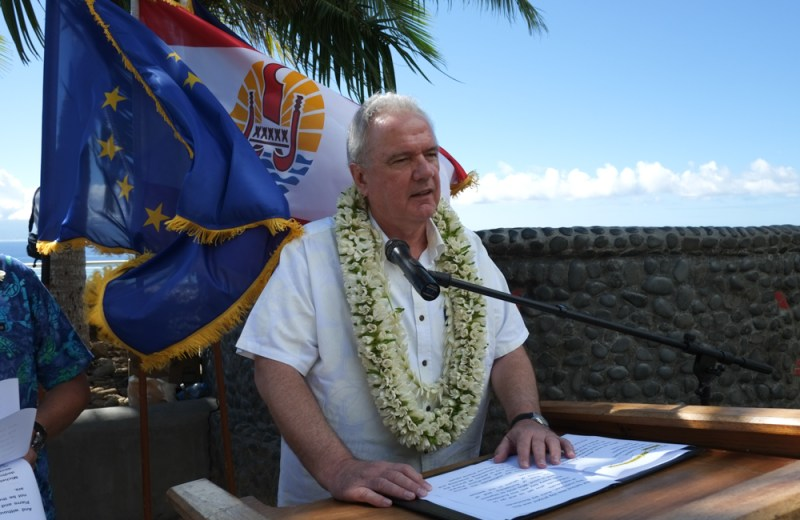 Neven Mimica member of the EC in charge of international cooperation and development in location at Moorea for the 17th OCT-EU forum