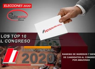 RANKING DE INGRESOS DE BIENES Y RENTAS DE LOS CANDIDATOS AL CONGRESO 2020 POR AMAZONAS