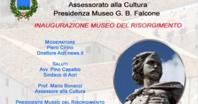"""Domani l'inaugurazione del Museo del Risorgimento """"Giovan Battista Falcone"""""""