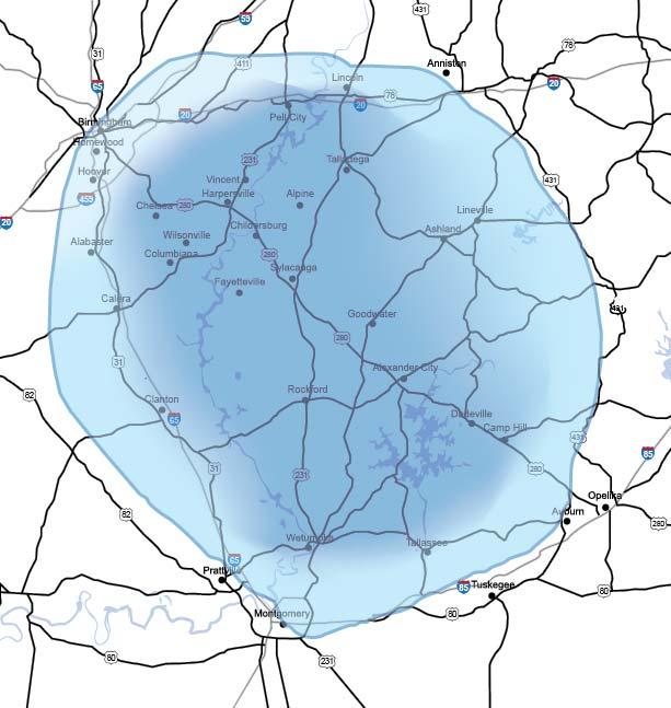 98.3 Fox FM Coverage Map
