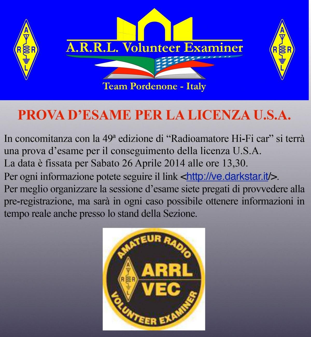 Esame VE 1200x1299 A.R.R.L. Volunteer Examiner   PROVA D'ESAME PER LA LICENZA U.S.A.