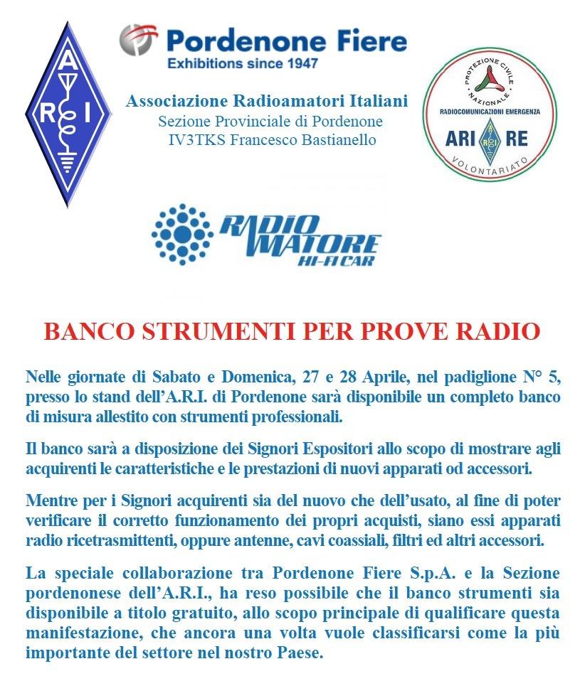 Banco strumenti per FB Iniziative ARI e Radioamatori in fiera