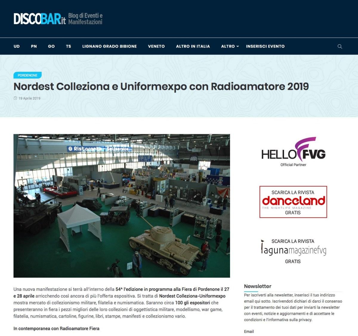 DiscoBar 19042019b Rassegna Stampa Radioamatore Fiera 2019