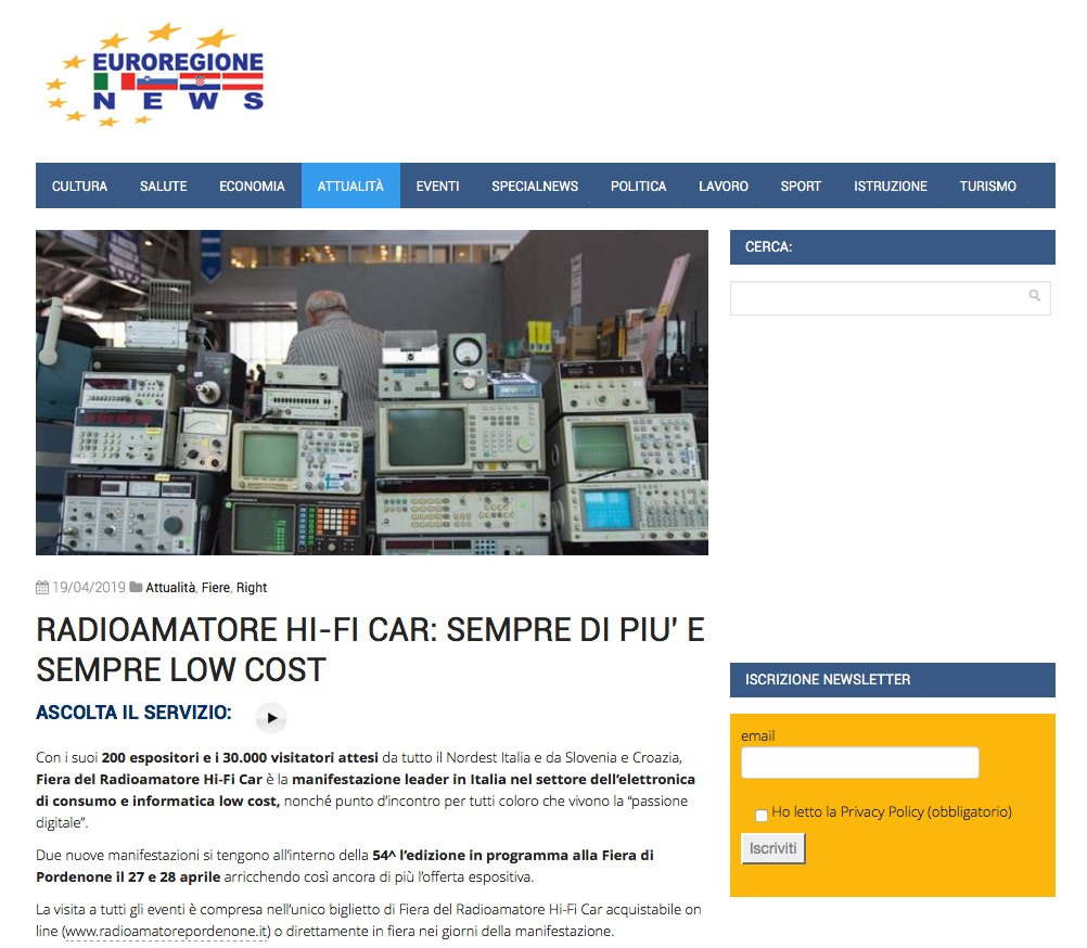 Euroregione 19042019 Rassegna Stampa Radioamatore Fiera 2019