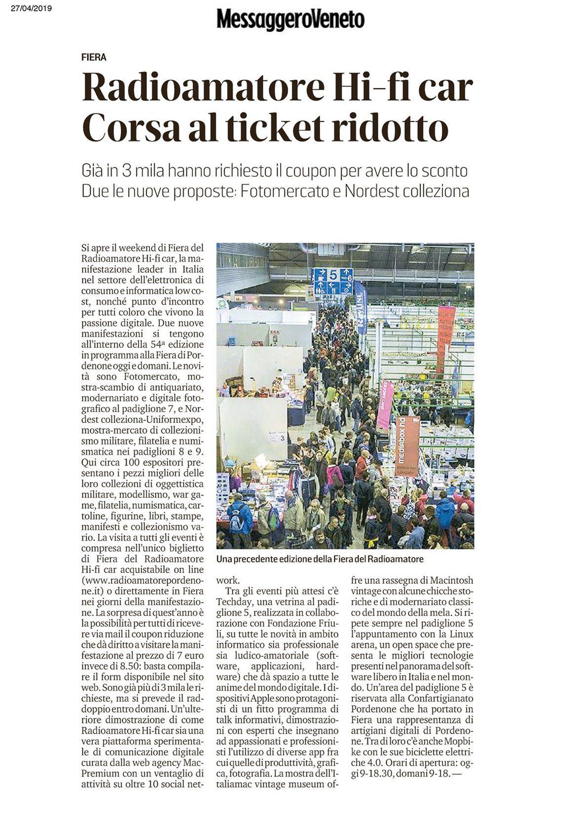 Messaggero 27042019 Rassegna Stampa Radioamatore Fiera 2019