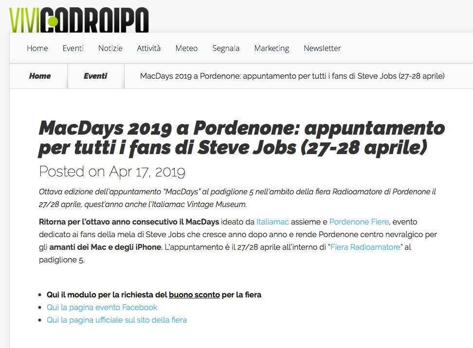 ViviCodroipo 17042019 Rassegna Stampa Radioamatore Fiera 2019