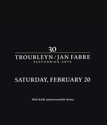 Invitation to Jan Fabre Troubleyn