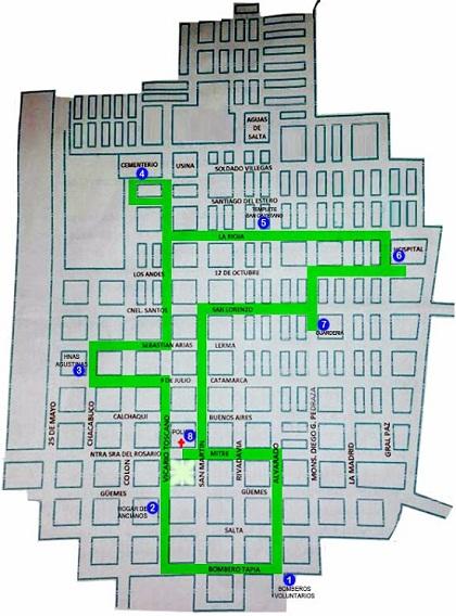 Mapa del recorrido de la Bicicleteada Mariana