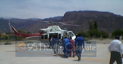 Momento del traslado de Rubén Mamaní en helicóptero a Salta