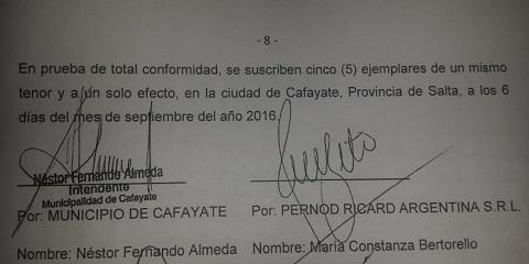 La fecha de firma del convenio ideado por la empresa usurpadora y las autoridades municipales