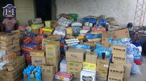 La mercadería recuperada tras la detención de los ladrones
