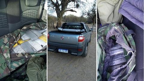 La droga y la camioneta secuestrada por Gendarmeria Nacional