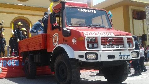 El unimog adquirido por los Bomberos Voluntarios de Cafayate