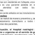 Confirman dos casos positivos de coronavirus en el Hospital de Cafayate