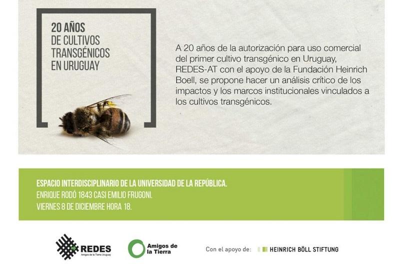 """Redes Amigos de la Tierra presenta """"20 años de cultivos transgénicos en Uruguay"""""""