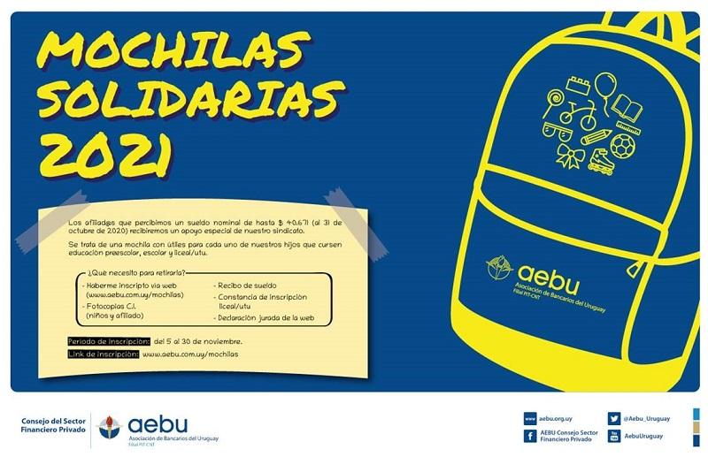 Por sexto año AEBU entregará mochilas solidarias para hijos de afiliados