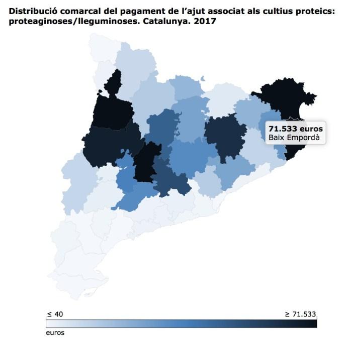 """Distribució comarcal del pagament de l'ajut associat als cultius proteics: proteaginoses/lleguminoses. Catalunya. 2017 Font: <a href=""""http://agricultura.gencat.cat/ca/ambits/desenvolupament-rural/declaracio-unica-agraria/"""">DARP - DUN.</a> Fet amb<a href=""""http://www.idescat.cat/dev/visual/""""> Idescat Visual</a>."""