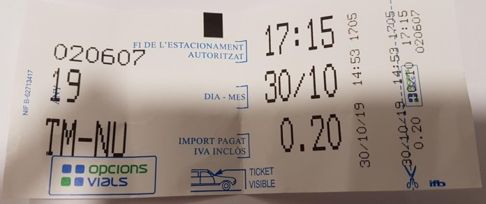 Tiquet de la zona blava Torroella de Montgrí | Imatge de Junts per Catalunya