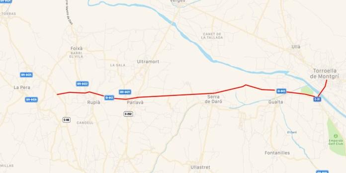 Carretera GI-642 i GI-643 entre Parlavà i Torroella de Montgrí
