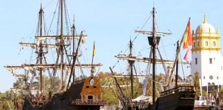 La caravel·la Nao Victoria i del galeó Andalucía | Imatge de l'Ajuntament de Palamós