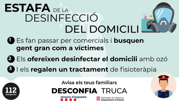 Cartell de la campanya d'avís per part de les autoritats locals de Begur sobre una possible estafa de desinfecció domiciliària