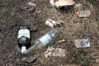 Restes de deixalles al paratge de Regencós on aquesta matinada del 15 d'agost del 2021 hi ha hagut un macrobotellot (Horitzontal)