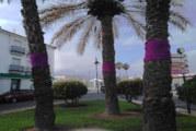 El Centro de Educación permanente Beturia decoran las palmeras de la Plaza de Andalucía de Cartaya