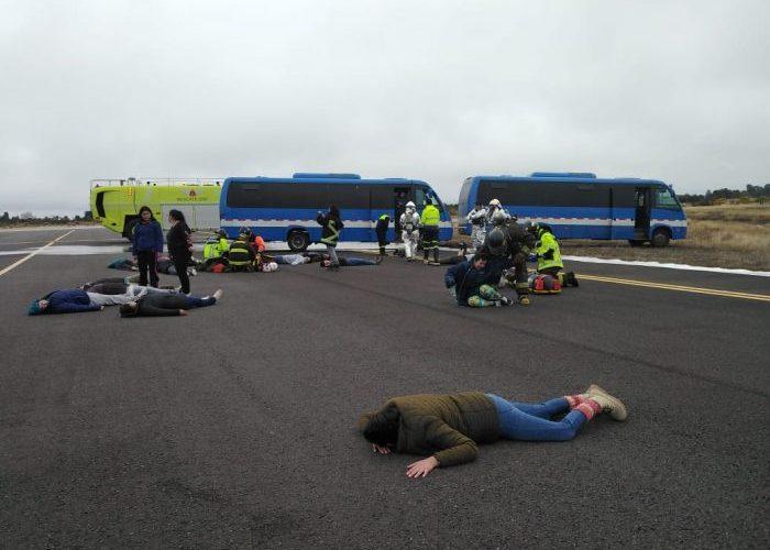 Dalcahue: se realizó simulacro de accidente aéreo en aeródromo Mocopulli.