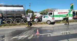 Castro: colisión por alcance deja una persona lesionada de gravedad.
