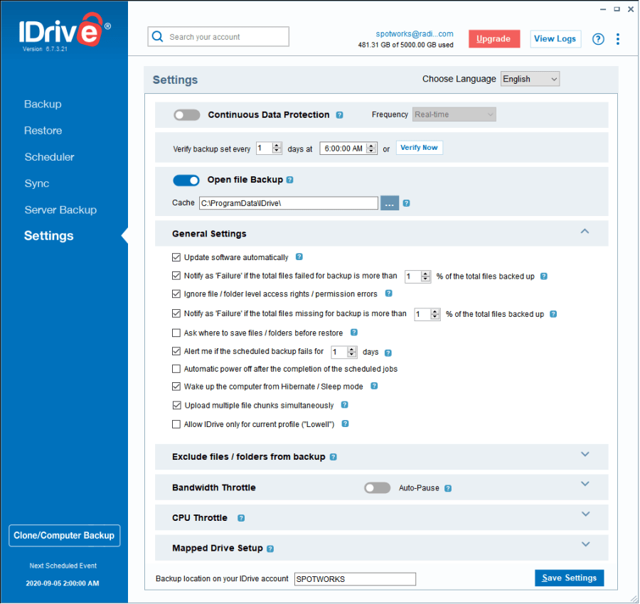 IDrive Online BackUp Settings