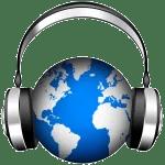 globo terráqueo con audífonos, igual a ¡radio espacial por el mundo!
