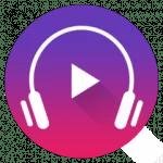 audífono sobre fondo gradual de morado a rojo con botón play en el centro