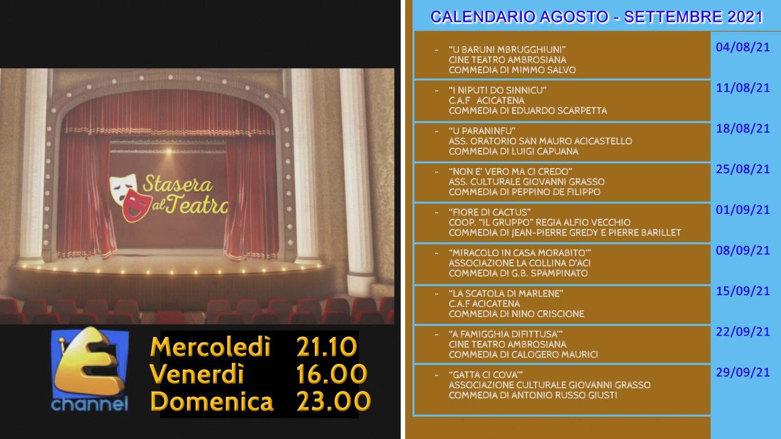 Stasera al teatro - Programma Agosto e Settembre 2021