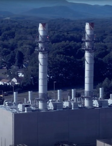 A photo of the Pittsfield Generating Plant at 235 Merrill Road, Pittsfield. Mass, owned by Hull Street Energy; still image from the short documentary, The Peaker Plant Problem, by Ben Hillman, via YouTube.