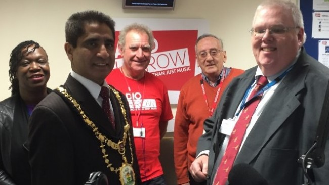 The Mayor of Harrow joined the Radio Harrow Volunteers in the studio for the Macmillan Coffee Morning show