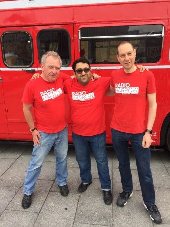 Radio Harrow volunteers, Charles Biggie, Shrey Puranik and Ben Hart outside Kings Cross