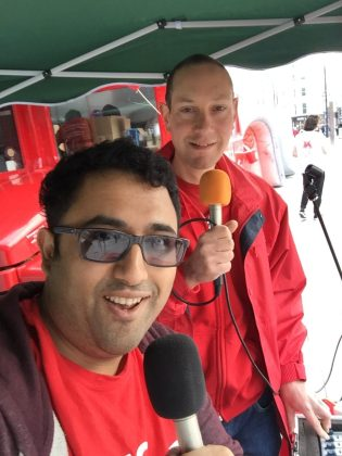 Shred Puranik and Ben Hart broadcasting live from Kings Cross