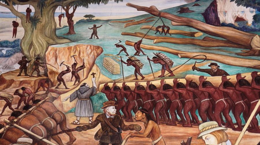 12 del patíbulo de 1492 ¿Cómo blanquear la leyenda negra - Diego-Rivera-Esclavos-indígenas.