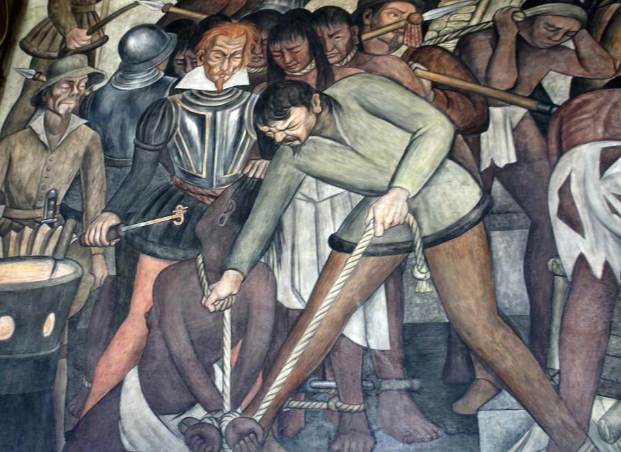 12 del patíbulo de 1492 ¿Cómo blanquear la leyenda negra - Diego-Rivera.-Marcando-Esclavos.